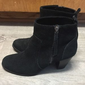Sam & Libby 7 Booties Zip Black Suede Leather Boot